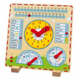 Horloge-calendrier en bois Goki