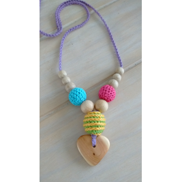 Necklace babywearing and breastfeeding organic Rainbow