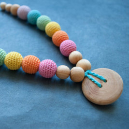 Double Aqua Rainbow Necklace, Juniper Wood Kangaroocare
