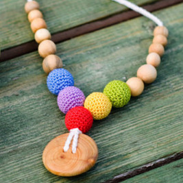 Button Rainbow Necklace, Juniper Wood Kangaroocare