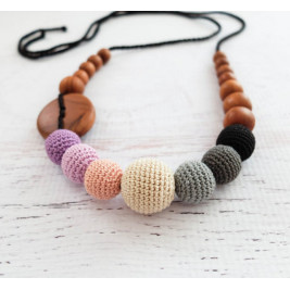 Purple & Black Gradient Necklace, Apple Wood Kangaroocare