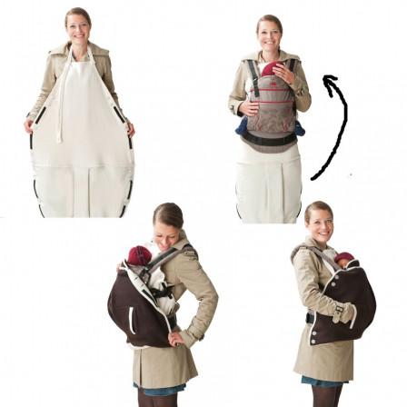 Mamalila couverture de portage en laine 2 en 1 Aubergine/ Fuchsia