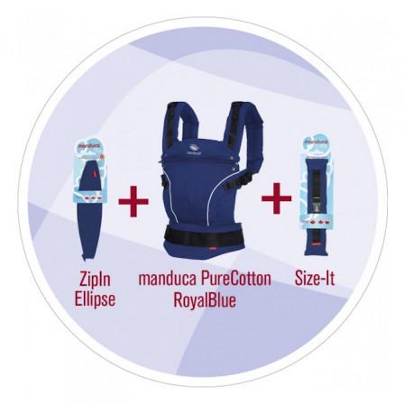 Manduca Set Complet Pure Cotton Royal Blue Porte-bébé