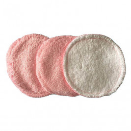 P'tits Dessous Disques à démaquiller bambou rose/blanc - Lot de 3