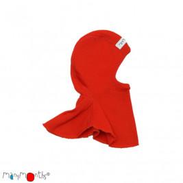 Manymonths hood baby pure merino wool Poppy Red
