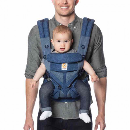 Ergobaby Omni 360 Cool Air Mesh Flowers Blue - baby carrier Expandable 4 Positions