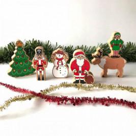 Univers de Noël en bois Lanka Kade (sac de 5)
