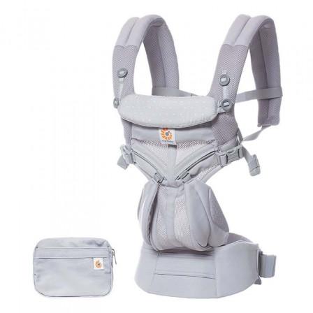 Ergobaby Omni 360 Cool Air Mesh Gris Pois Rose - Porte-bébé Évolutif 4 Positions