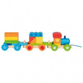 Goki Budapest train with bricks - wooden toys