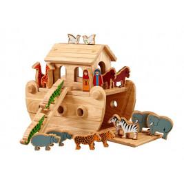 Petite arche de Noé bois naturel animaux peints - Lanka Kade