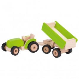 Goki Tracteur vert avec remorque - Jouet en bois