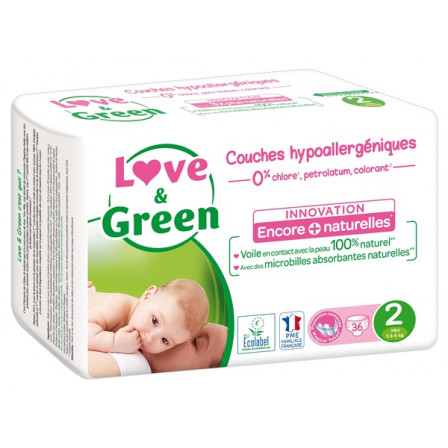 Love and Green Couches jetables taille 2 (3 à 6 kg) x36