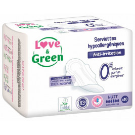 Sanitary towels Night Love and Green hypoallergenic