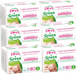 Love and Green Pack 6x36 Couches jetables taille 2 (3 à 6 kg)