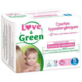 Love and Green Pack 6x40 Couches jetables taille 5 (11 à 25 kg)