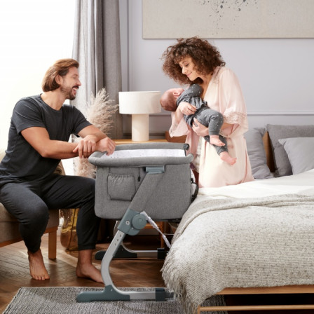 Kinderkraft UNO Grey Baby Bed co-sleeping 2 in 1