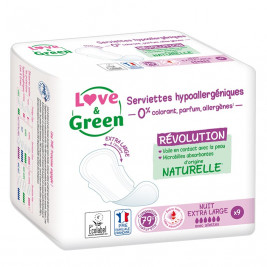 Love and Green Serviettes hygiéniques Hypoallergéniques Maxi Super x14
