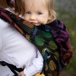 Kinder Hop Multi Soft Dots Rainbow adjustable baby carrier