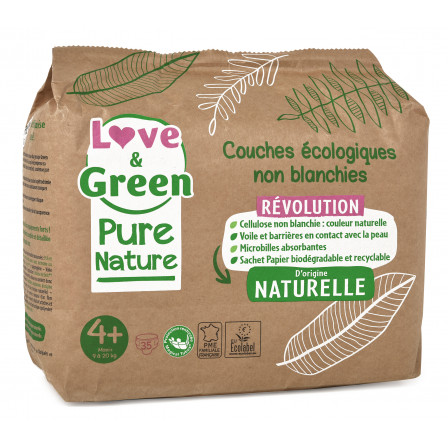 Love and Green, couches hypoallergéniques, Pure Nature, Taille 4+ x 35