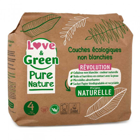 Love and Green Pure Nature Pack 6x38 Couches jetables taille 4 (7 à 14 kg)