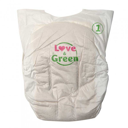 Love and Green Pure Nature Pack 6x32 Couches jetables taille 1 (2 à 5 kg)