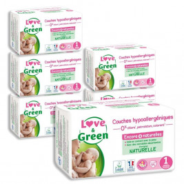 Love and Green Pack 6x44 Couches jetables taille 1 (2 à 5 kg)