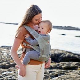 Ergobaby porte-bébé Aerloom Gris - Bleu ciel portage ventral