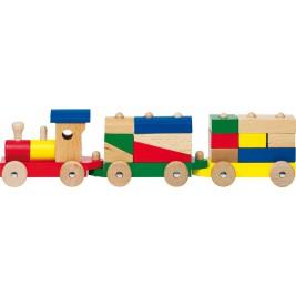 Goki Budapest train with bricks Toy wood 55881