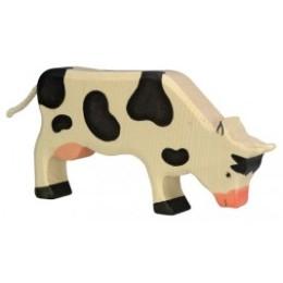Vache broutant noire en bois Holztiger