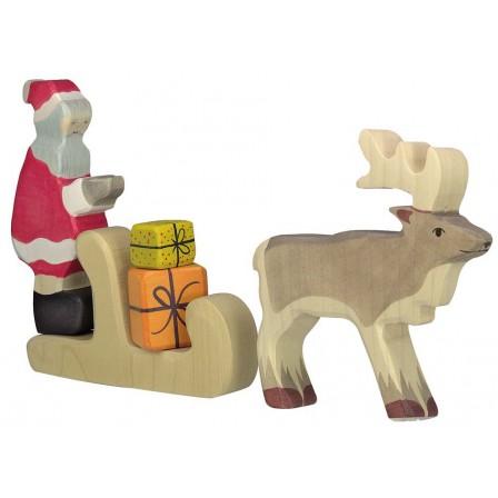 ensemble Père Noël traineau cadeaux en bois par Holztiger