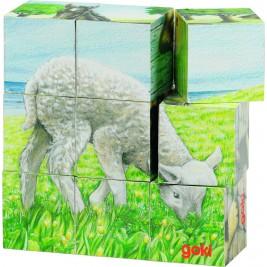 Puzzle de cubes animaux de la ferme Goki