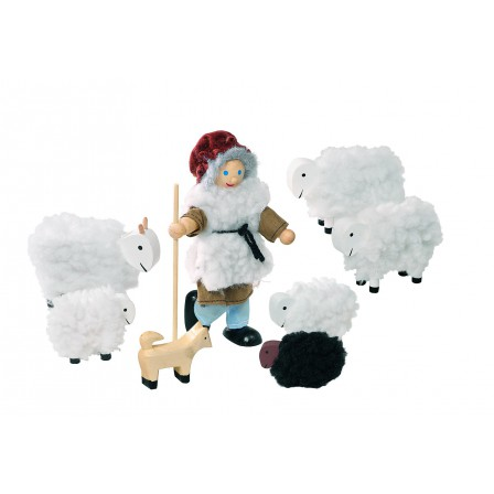 Shepherd and his flock, articulated puppets Goki