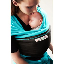The original JPMBB Baby Wrap Turquoise, pocket Black Koffee