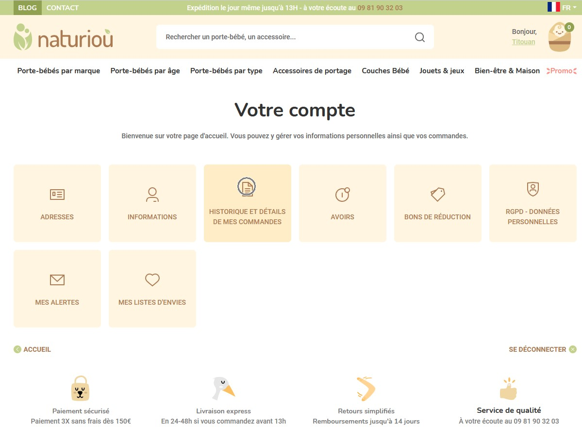 Page acceuil compte client